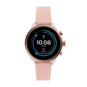 Fossil Womens Gen 4 Sport Heart Rate Metal and Silicone Touchscreen Smartwatch, Color:Blush Pink (FTW6022)