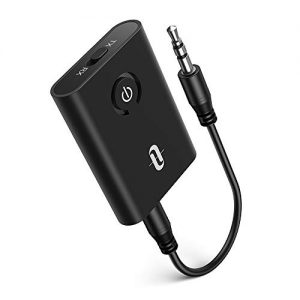 TaoTronics Bluetooth 5.0 Transmitter and Receiver, 2-in-1 Wireless 3.5mm Adapter (aptX Low Latency, 2 Devices Simultaneously, For TV/Home Sound System/Car/Nintendo Switch)